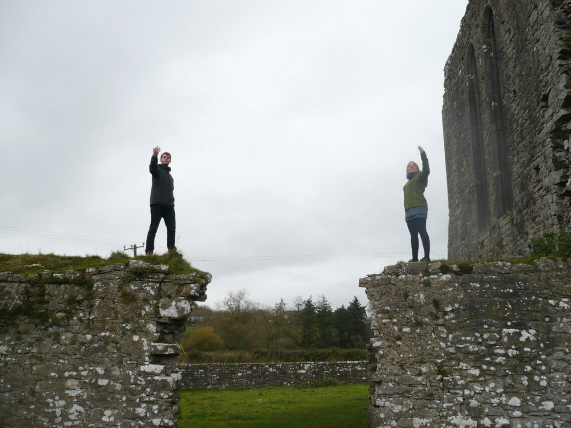Me and a friend of mine posing on ruins. One of the things you can possibly only do in Ireland.