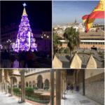 Weihnachtsdeko in der Innenstadt (links oben), Blick vom Torre del Ort (rechts), Innenhof Alcazar (unten) © Jasmin Weist